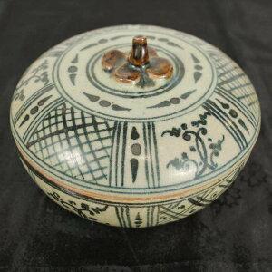 スワンカローク焼きの丸い蓋物 陶器 タイ製 宋胡禄 すんころく アジアン エスニック