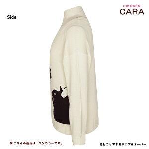 HIKOSENCARA黒ねことアネモネのプルオーバーPS21-009(SP3)メール便×コットンアクリルデザインプリントインターシャかわいいおしゃれ猫猫グッズねこ雑貨ねこネコキャットヒコーセンカーラギフト包装無料