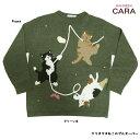 クリスマスねこのプルオーバー  メール便× 猫 ねこ ねこ柄 猫柄 ネコ ねこ顔 ねこグッズ ねこ雑貨 HIKOSEN CARA 飛行船企…