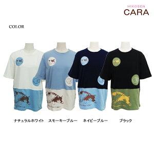 ねこと魚の半袖Tシャツ猫アップリケプリントレディースCサイズねこねこ柄猫柄ネコねこ顔ねこグッズねこ雑貨HIKOSENCARA飛行船企画ひこうせんかーらひこうせんヒコウセンカーラSM1T19-021C