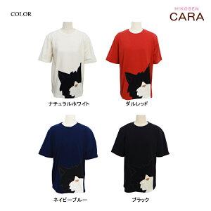 黒ねこクークの半袖Tシャツ猫アップリケプリントレディースCサイズねこねこ柄猫柄ネコねこ顔ねこグッズねこ雑貨HIKOSENCARA飛行船企画ひこうせんかーらひこうせんヒコウセンカーラSM1T19-028C