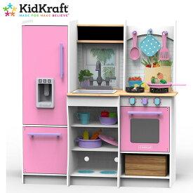 あす楽【キッドクラフト】フレッシュハーベストプレイキッチン kidKraft Fresh Harvest Play Kitchenあす楽 ピンク おままごと【送料無料】【costco コストコ】#10065/1315623冷蔵庫