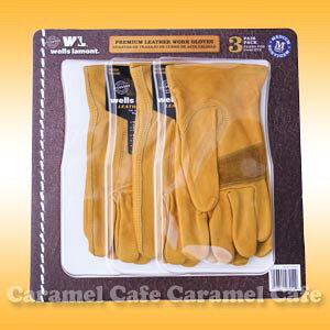 【wells lamont ウェルズ ラモント】レザーワークグローブ 牛皮100% 22.5cm Mサイズ 3組パック 皮手袋 黄色 作業用手袋牛革100%