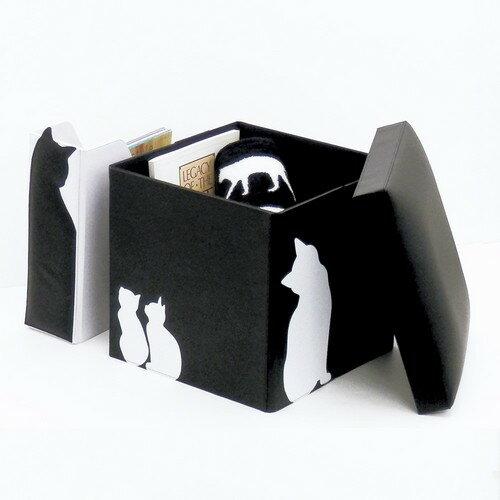 [oni大西賢製販] 可愛い雑貨【CAT】2014新作 ボックススツール ブラック・ホワイト 【ネコ】05P04Jul15