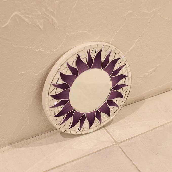 モザイクミラー 壁掛け ミラー 鏡 ウォールミラー マタハリ 太陽 パープル 20cm アジアン バリ インテリア