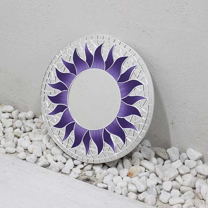 モザイク柄 ミラー 鏡 壁掛けミラー 太陽模様 パープル 丸型 30cm バリ アジアン インテリア