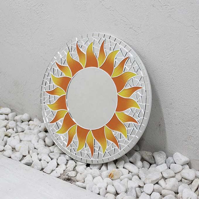 モザイク柄 ミラー 鏡 壁掛けミラー 太陽模様 イエロー 丸型 30cm バリ アジアン インテリア