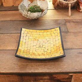 バリ島の飾り皿 四角皿 トレイ 小物入れ モザイクガラス W24cm