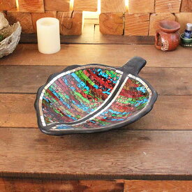 バリ島の飾り皿 リーフ型 トレイ 小物入れ モザイクガラス W39cm