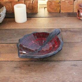 バリ島の飾り皿 リーフ型 トレイ 小物入れ モザイクガラス W29cm