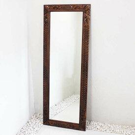 姿見 ミラー 鏡 バリ風 彫刻フレーム 160×60