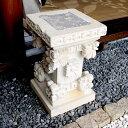 石のスタンド フラワースタンド 花台 石彫り 置物 H49 バリ島の石像 ストーンカービング エクステリア 外構 アジアンインテリア オブジェ