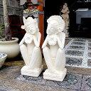 バリニーズ カップル 男女像 H77 2体セット 石像 石の置物 バリ島の石像 ストーンカービング エクステリア 外構 アジ…