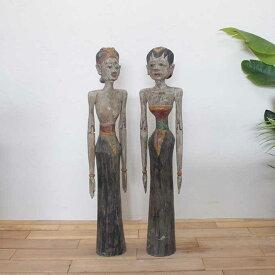 バリニーズ 男女 2体セット アンティーク風 バリ島のオブジェ 置物 H100cm