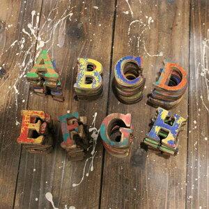木製 アルファベット オブジェ カラフル アンティーク かすれ ペイント H4.5cm [ A B C D E F G H ]