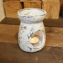 ロンボク焼きのキャンドルホルダー アロマポット 陶器 ホワイト H12cm バリ雑貨 アジアン雑貨 オブジェ