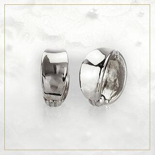 K18WGホワイトゴールド/フープイヤリング(ピアリング)(11mmワイド)(18金 18k)(ej0004wg)