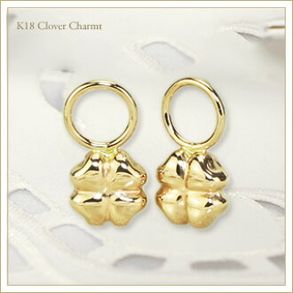 K18 Clover Charm 18 Carat Gold Czvk Photo Hoop Earrings Are Sold Separately