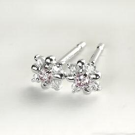 プラチナ(Pt900)ピンクダイヤモンドピアス(ピンクダイヤ0.05ct、ダイヤ0.05ct)(フラワー、結晶)(sd2074)