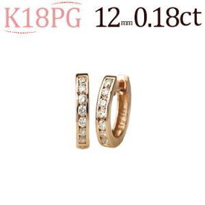 K18ピンクゴールド中折れ式ダイヤフープエタニティピアス(0.18ctUP)(12mm)(18金 18k PG製)(sb0050pg)