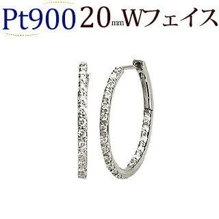 プラチナ中折れ式ダブルフェイスダイヤフープピアス(0.4ct)(20mm)(sb0060pt)