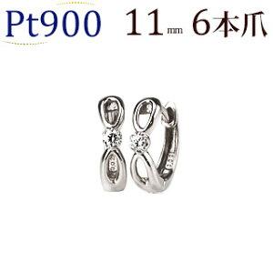 プラチナ中折れ式ダイヤフープピアス(11mmリング調)(ダイヤモンド 0.04ct 一粒石)(Pt900製)(sb0010pt)