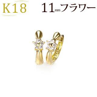 K18中折れ式ダイヤフープピアス(11mmリング調 フラワー)(ダイヤモンド 0.06ct)(18k、18金製)(sb0020k)