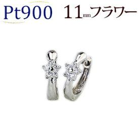 プラチナ中折れ式ダイヤフープピアス(11mmリング調 フラワー)(ダイヤモンド 0.06ct)(Pt900製)(sb0020pt)