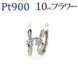 プラチナ中折れ式ダイヤフープピアス(10mmリング調 フラワー)(ダイヤモンド0.04ct)(Pt900製)(sb0021pt)