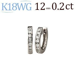 K18ホワイトゴールド中折れ式ダイヤフープピアス(0.20ct)(12mm)(18金 18k WG製)(sb0050wg)