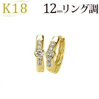 【ご予約納期5〜7週間】K18中折れ式ダイヤフープピアス(12mmリング調)(ダイヤモンド10石0.1ct)(sb0051k-yk)