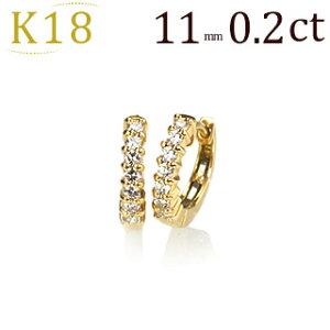 K18中折れ式ダイヤフープピアス(0.20ct)(11mm)(18k、18金製)(sb0053k)