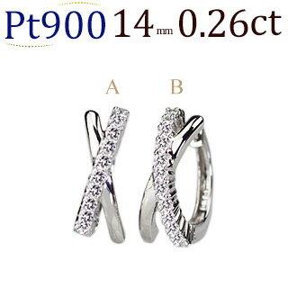 プラチナ中折れ式ダイヤフープピアス(0.30ct)(14mm)(sb0062pt)