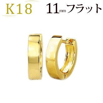 K18 pre-bent hoop earrings (steel 11 mm flat, Japan) (saf11k)
