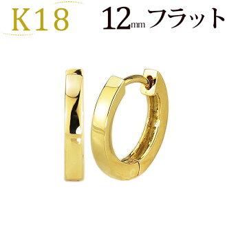b9aa87a649f12 K18 pre-bent hoop earrings (12 mm flat, Japan made) (saf12k)