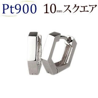 【日常に使える上級ピアス】Pt中折れ式フープピアス(10mmスクエア、日本製)