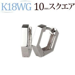 プラチナ中折れ式フープピアス(10mmスクエア)(Pt900製)(saq10pt)