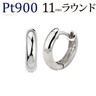 白金中的去式鐵環無環耳環(11mm局,日本製造)(sar11pt-yk)