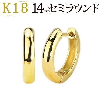 K18 預彎的耳環 (14 毫米半自動圓) (18 k 金 18k 黃金) (sas64k)