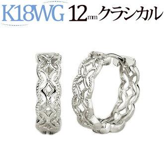 K18 화이트 골드 중 절 식 후프 귀걸이 (12mm) (18 금 18k WG) (saw12wg)