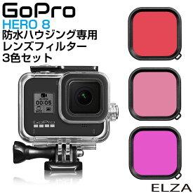 GoPro HERO 8 防水ハウジング専用 レンズ カラーフィルター フィルター 水中撮影 淡水 海水 潜水 3色セット CZ-GP8WPCCL メール便(ネコポス)送料無料