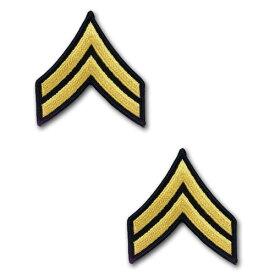アメリカ陸軍 階級章 袖章 伍長(E-4)【ゴールド/ブルー】