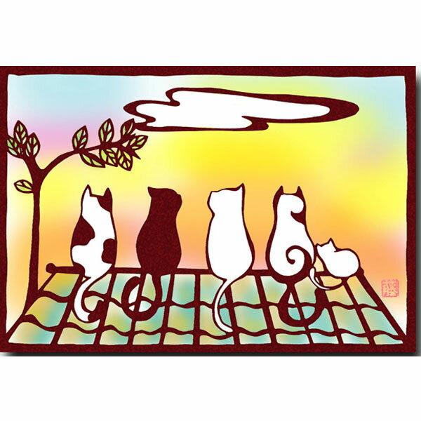 ポストカード「屋根の上の猫」切り絵