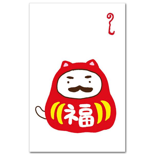 かわいい猫柄のぽち袋「ねこだるま」おもしろポチ袋 お年玉袋5枚入り