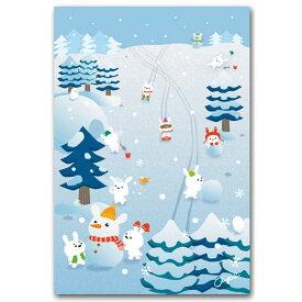 下間文恵・かわいいポストカード「冬うさぎ」