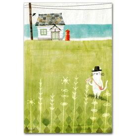 ワタナベサチコ・水彩イラストポストカード「海の見える郵便局」