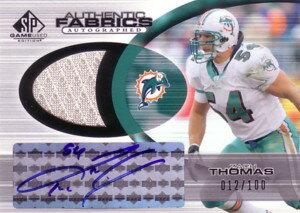 ザック・トーマス Zach Thomas 2004 SP Game Used Edition Fabrics Autographs 100枚限定!