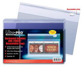 Ultra Pro (ウルトラプロ) 横型ブックレットカード用ワンタッチマグネットカードホルダー保護バッグ シール付クリアパック 100枚入り / Horizontal Booklet One-Touch Resealable Bags (#84170)