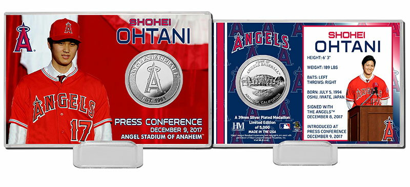 The Highland Mint (ハイランドミント) 大谷翔平 ロサンゼルス・エンゼルス シルバーコインカード (Shohei Ohtani Angels Press Conference Silver Coin Card)