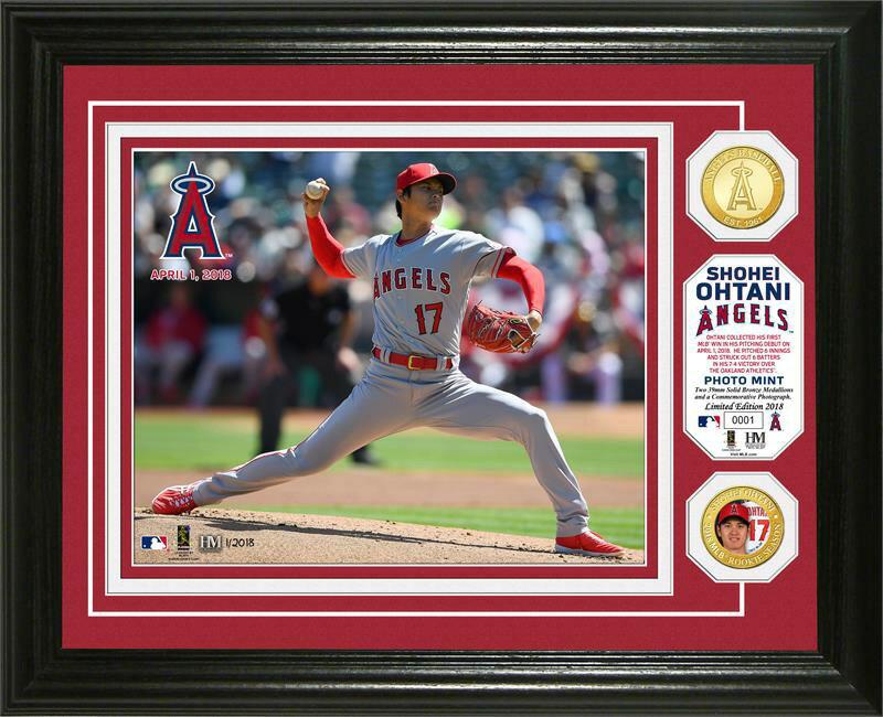 The Highland Mint (ハイランドミント) 大谷翔平 ロサンゼルス・エンゼルス MLBピッチングデビューブロンズコインフォトプラーク (Shohei Ohtani MLB Pitching Debut Bronze Coin Photo Mint)